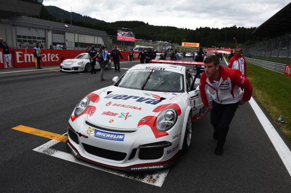 Kuba Giermaziak (POL) VERVA Lechner Racing Team on the grid at Porsche Supercup, Rd3, Spielberg, Austria, 19-21 June 2015.