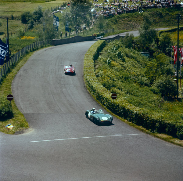 Nurburgring, Germany. 1st June 1958.Stirling Moss / Jack Brabham (Aston Martin DBR1), 1st position, action.World Copyright: LAT Photographic.