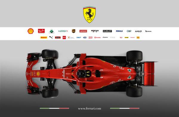 FIA Formula 1 World Championship 2018 Ferrari SF71H studio images Overhead view. Copyright free for Editorial Use Only Credit: Ferrari