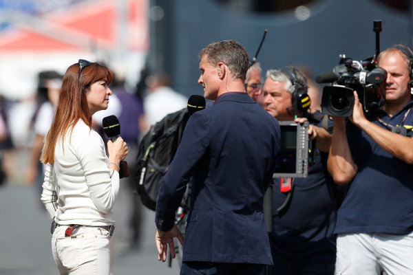 Nurburgring, Germany 6th July 2013 David Coulthard, BBC Sport F1, with Suzy Perry, BBC Sport F1 World Copyright: Charles Coates/  ref: Digital Image _N7T1041