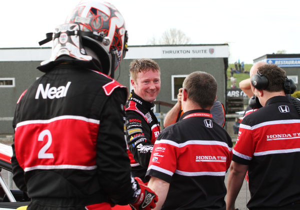 Round 3 - Thruxton, Hampshire.  Thruxton, 4th-5th May 2013.  Gordon Shedden and Matt Neal, Honda, celebrate in parc ferme.  Ref: IMG_9289a. World copyright: Kevin Wood/LAT Photographic