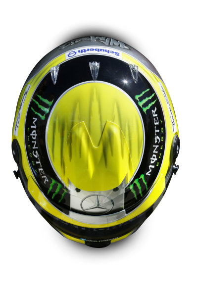 Albert Park, Melboune 14th March 2013 The helmet of Nico Rosberg, Mercedes AMG. World Copyright: LAT Photographic ref: Digital Image DKAL8833