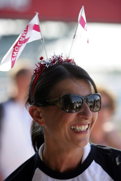 2006 British Grand Prix - Saturday Qualifying Silverstone, England. 8th - 11th June. Holly Samos, BBC Radio Five Live, atmosphere. World Copyright: Lorenzo Bellanca/LAT Photographic ref: Digital Image ZD2J3727