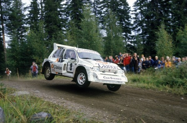 1986 World Rally Championship.1000 Lakes Rally, Finland. 5-7 September 1986.Per Eklund/Dave Whittock (MG Metro 6R4), 7th position.World Copyright: LAT PhotographicRef: 35mm transparency 86RALLY25
