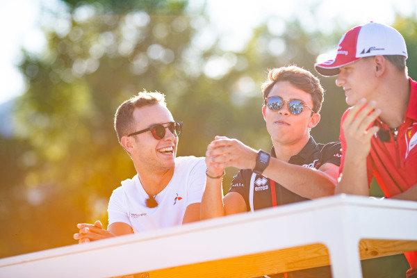 HUNGARORING, HUNGARY - AUGUST 01: Anthoine Hubert (FRA, BWT ARDEN) and Mick Schumacher (DEU, PREMA RACING) Nyck De Vries (NLD, ART GRAND PRIX) during the Hungaroring at Hungaroring on August 01, 2019 in Hungaroring, Hungary. (Photo by Joe Portlock / LAT Images / FIA F2 Championship)