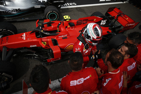 Charles Leclerc, Ferrari, 3rd position, celebrates with his team in Parc Ferme