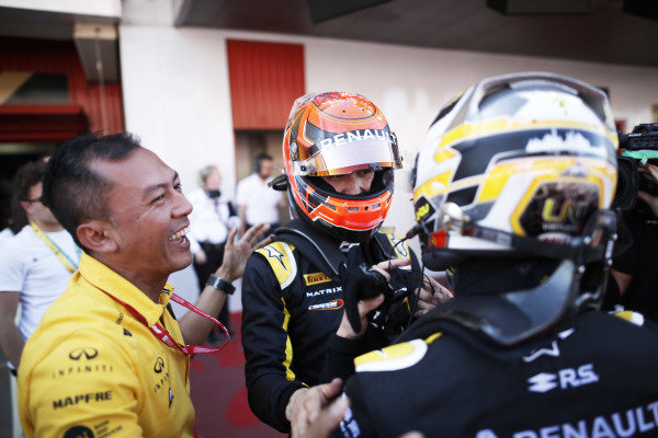 Nicholas Latifi (CAN, DAMS), celebrates in Parc Ferme with Jack Aitken (GBR, CAMPOS RACING) after winning the race