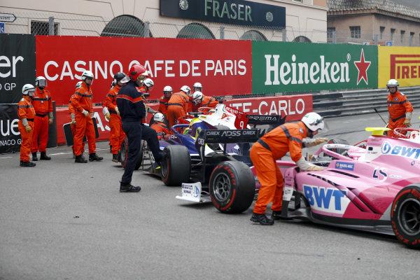 Mick Schumacher (DEU, PREMA RACING), Louis Deletraz (CHE, CARLIN) and Anthoine Hubert (FRA, BWT ARDEN) during the red flag