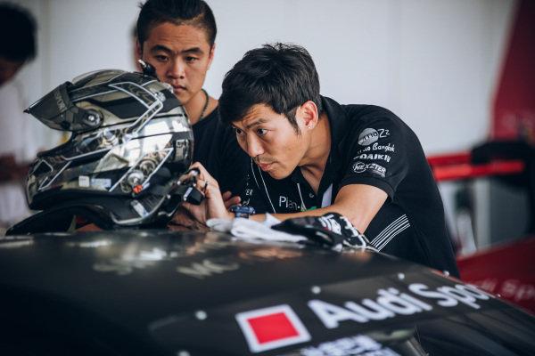 Bhurit Bhirombhakdi (THA) Singha Plan-B Motorsport helmet is headed at Audi R8 LMS Cup, Rd7 and Rd8, Shanghai, China, 8-10 September 2017.