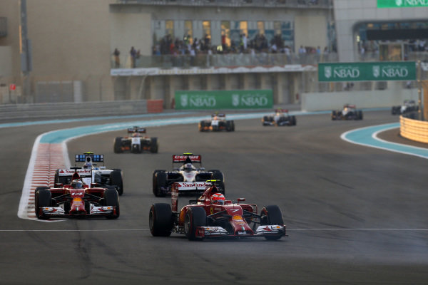 Kimi Raikkonen (FIN) Ferrari F14 T. Formula One World Championship, Rd19, Abu Dhabi Grand Prix, Race, Yas Marina Circuit, Abu Dhabi, UAE, Sunday 23 November 2014.
