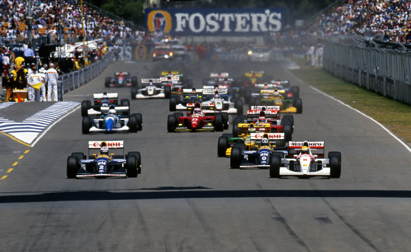 Pole sitter Ayrton Senna (BRA) McLaren MP4-8 leads at the start of the race. Formula One World Championship, Rd 16, Australian Grand Prix, Adelaide, 7 November 1993.
