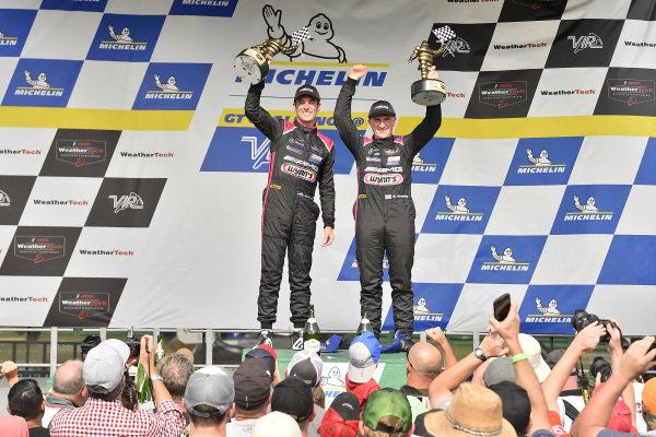 #33 Mercedes-AMG Team Riley Motorsports Mercedes-AMG GT3, GTD: Ben Keating, Jeroen Bleekemolen celebrate the win in victory lane