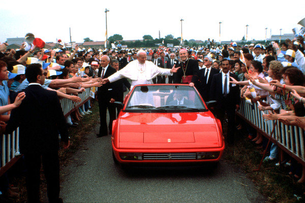Pope John Paul II visits the Ferrari factory at Maranello.