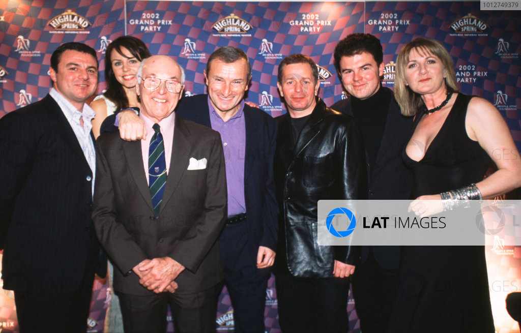2002 Grand Prix Party, Albert Hall, London, England.12th February 2002.Mark Blundell, Beverly Turner, Murray Walker, Jim Rosenthal, Martin Brundle, James Allen and Louise Goodman.World Copyright LAT Photographic