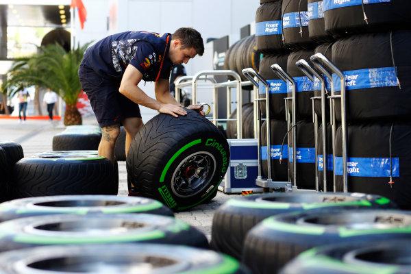 Sochi Autodrom, Sochi, Russia. Thursday 27 April 2017. A Red Bull team member sorts Pirelli tyres in the paddock. World Copyright: Steven Tee/LAT Images ref: Digital Image _R3I0623