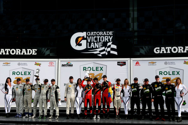 2017 Rolex 24 Hours. Daytona, Florida, USA Sunday 29 January 2017. Podium PC: Race winner #38 Performance Tech Motorsports ORECA FLM09: James French, Kyle Mason, Patricio O'Ward, Nicholas Boulle; second place #26 BAR1 Motorsports Oreca FLM09: Adam Merzon, Johnny Mowlem, Tom Papadopoulos, Trent Hindman, David Cheng; third place #20 BAR1 Motorsports ORECA FLM09: Don Yount, Buddy Rice, Mark Kvamme, Chapman Ducote, Gustavo Yacaman  World Copyright: Alexander Trienitz/LAT Images ref: Digital Image 2017-24h-Daytona-AT1-6069