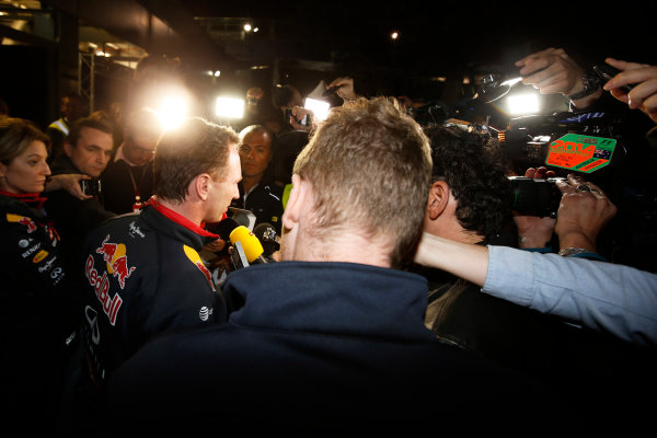 Albert Park, Melbourne, Australia. Sunday 16 March 2014. Christian Horner, Team Principal, Red Bull Racing, addresses the media regarding the disqualification of the car of Daniel Ricciardo, Red Bull Racing. World Copyright: Charles Coates/LAT Photographic. ref: Digital Image _J5R6551