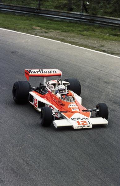 Jochen Mass, McLaren M23 Ford in the spare car.