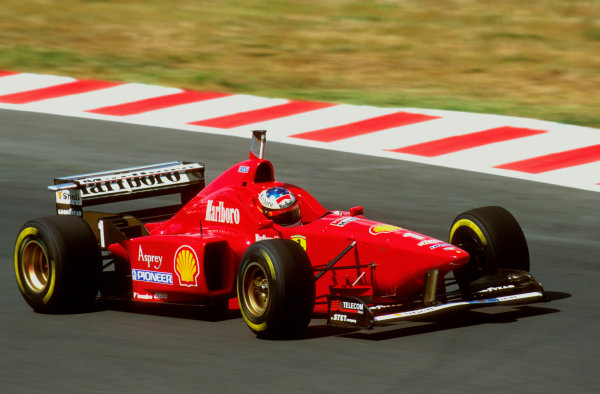 Hungaroring, Budapest, Hungary.9-11 August 1996.Michael Schumacher (Ferrari F310) dropped down the field towards the end when his throttle began sticking open, then his gearbox started to play up on the downshifts. Ref-96 HUN 11.World Copyright - LAT Photographic