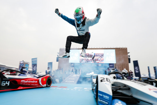 Antonio Felix da Costa (PRT), BMW I Andretti Motorsports leaps off his car in celebration of his victory