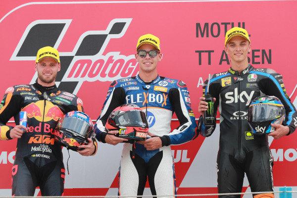 Podium: race winner Augusto Fernandez, Pons HP40, second place Brad Binder, KTM Ajo, third place Luca Marini, Sky Racing Team VR46.