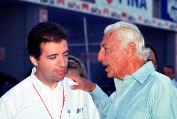 Gianni Agnelli 1922 - 2003Gianni Agnelli, here seen at the 1988 Italian Grand Prix at Monza with Piero-Lardi Ferrari.World Copyright: Photo4/LAT Photographicref: Digital Image Only
