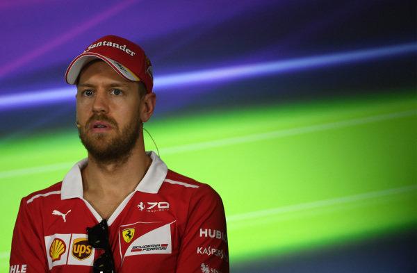 Sebastian Vettel (GER) Ferrari in the Press Conference at Formula One World Championship, Rd1, Australian Grand Prix, Preparations, Albert Park, Melbourne, Australia, Thursday 23 March 2017.