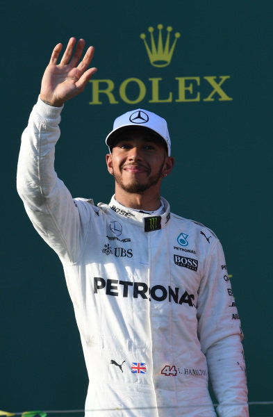 Lewis Hamilton (GBR) Mercedes AMG F1 celebrates on the podium at Formula One World Championship, Rd1, Australian Grand Prix, Race, Albert Park, Melbourne, Australia, Sunday 26 March 2017.