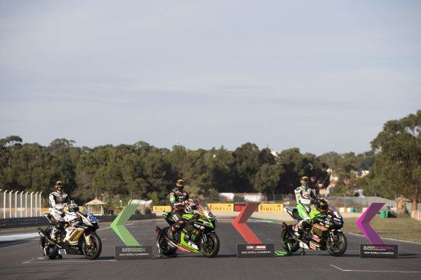 Andrea Locatelli, BARDAHL Evan Bros. WorldSSP Team, Jonathan Rea, Kawasaki Racing Team, Jeffrey Buis, World championship class winners.