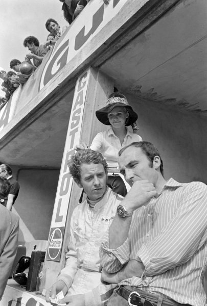 Piers Courage with wife Sally and team boss Frank Williams.