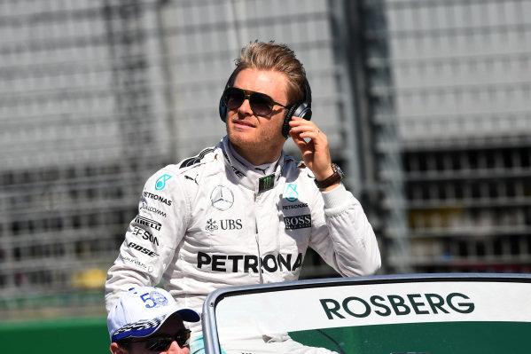 Nico Rosberg (GER) Mercedes AMG F1 on the drivers parade at Formula One World Championship, Rd1, Australian Grand Prix, Race, Albert Park, Melbourne, Australia, Sunday 20 March 2016.
