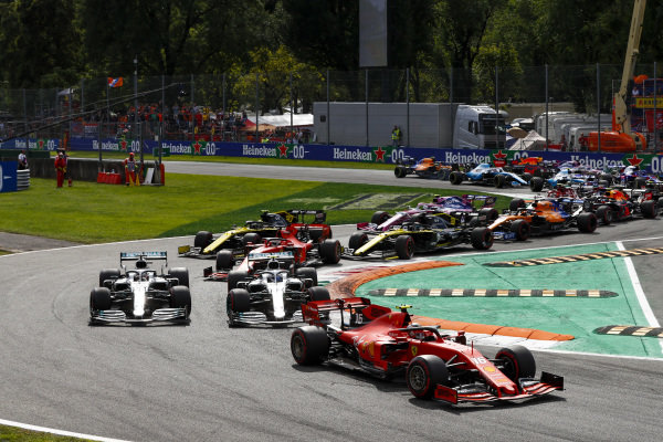 Charles Leclerc, Ferrari SF90 leads Lewis Hamilton, Mercedes AMG F1 W10 and Valtteri Bottas, Mercedes AMG W10 at the start of the race
