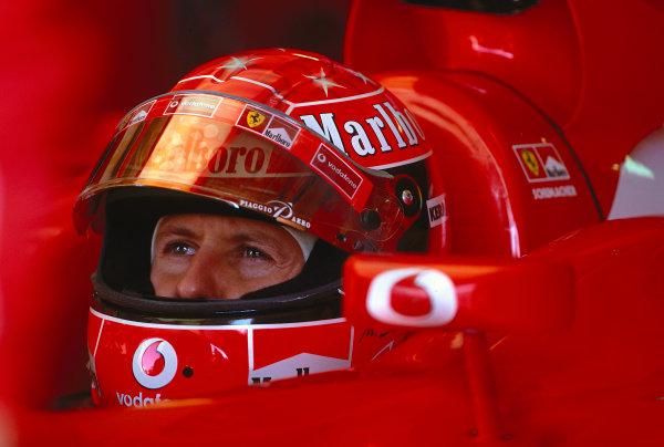 2002 San Marino Grand Prix.Imola, Italy.12-14 April 2002.Michael Schumacher (Ferrari) 1st position.Ref-02 SM 38.World Copyright - LAT Photographic
