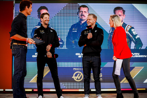 Mark Webber, Romain Grosjean, Haas F1 Team and Kevin Magnussen, Haas F1 Team on stage at the Federation Square event.
