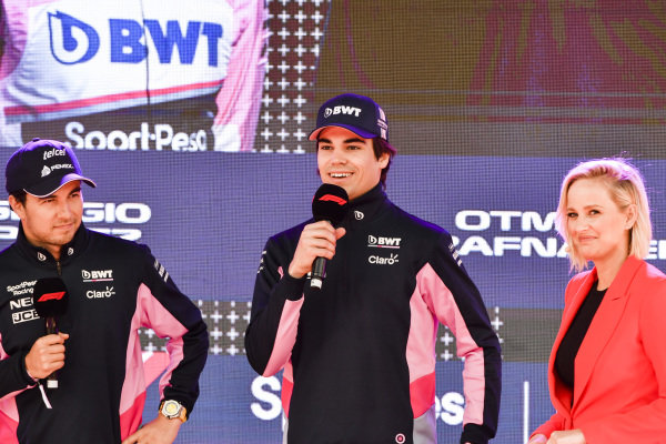 Sergio Perez, Racing Point and Lance Stroll, Racing Point at the Federation Square event.