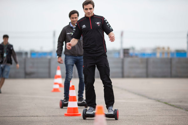 2014/2015 FIA Formula E Championship. Berlin ePrix, Berlin Tempelhof Airport, Germany. Thursday 21 May 2015 Jerome D'Ambrosio (BEL)/Dragon Racing - Spark-Renault SRT_01E on a hovertrax. Photo: Andrew Ferraro/LAT/Formula E ref: Digital Image _FER0939