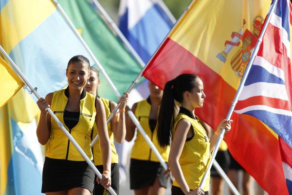 Circuit de Catalunya, Barcelona, Spain. Saturday 9 May 2015. Grid Girls. World Copyright: Charles Coates/LAT Photographic. ref: Digital Image _N7T5486