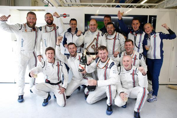Red Bull Ring, Spielberg, Austria. Sunday 21 June 2015. The Williams team celebrate a podium finish for Felipe Massa, Williams F1. World Copyright: Glenn Dunbar/LAT Photographic. ref: Digital Image _W2Q3926