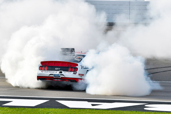 2017 NASCAR Xfinity Series - Boyd Gaming 300 Las Vegas Motor Speedway - Las Vegas, NV USA Saturday 11 March 2017 Joey Logano celebrates his win with a burnout World Copyright: Nigel Kinrade/LAT Images ref: Digital Image 17LAS1nk06116