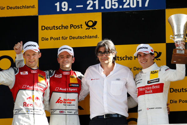 2017 DTM Round 2 Lausitzring, Germany. Sunday 21 May 2017. Podium: Race winner Jamie Green, Audi Sport Team Rosberg, Audi RS 5 DTM, second place Mattias Ekstr?m, Audi Sport Team Abt Sportsline, Audi A5 DTM, third place Robert Wickens, Mercedes-AMG Team HWA, Mercedes-AMG C63 DTM World Copyright: Alexander Trienitz/LAT Images ref: Digital Image 2017-DTM-R2-ESL-AT1-4723