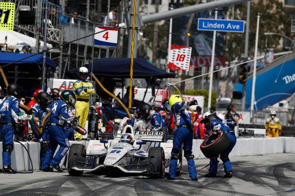 2017 Verizon IndyCar Series Toyota Grand Prix of Long Beach Streets of Long Beach, CA USA Sunday 9 April 2017 JR Hildebrand, pit stop World Copyright: Michael L. Levitt LAT Images