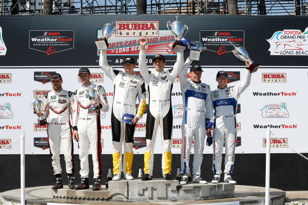 2017 IMSA WeatherTech SportsCar Championship BUBBA burger Sports Car Grand Prix at Long Beach Streets of Long Beach, CA USA Saturday 8 April 2017 912, Porsche, Porsche 911 RSR, GTLM, Kevin Estre, Laurens Vanthoor, 4, Chevrolet, Corvette C7.R, GTLM, Oliver Gavin, Tommy Milner, 67, Ford, Ford GT, GTLM, Ryan Briscoe, Richard Westbrook, podium World Copyright: Michael L. Levitt LAT Images ref: Digital Image levitt-0417-lbgp_09531