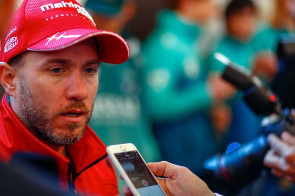 Nick Heidfeld (GER), Mahindra Racing, Mahindra M4Electro, talks to the press.