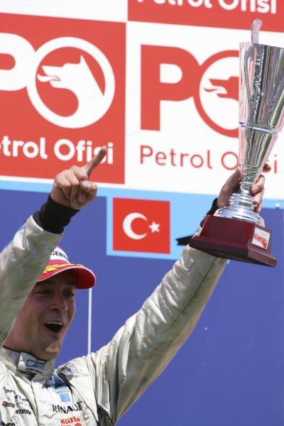 2006 GP2 Series. Round 10.Istanbul Park, Istanbul Turkey.27th August 2006.Sunday Race.Andreas Zuber (AUT, Trident Racing) celebrates his victory on the podium. World Copyright: Lorenzo Bellanca/GP2 Series Media Service.ref: Digital Image ZD2J8626