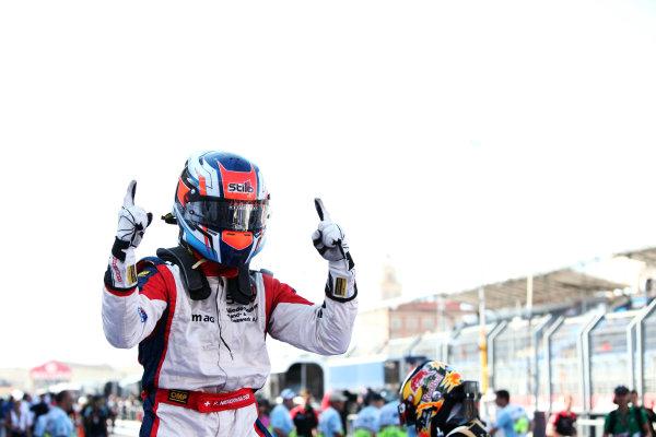 2012 GP3 Series, Round 3.Valencia, Spain. 24th June 2012. Sunday Race 2. Patric Niederhauser (SUI, Jenzer Motorsport) celebrates in parc ferme. Portrait. World Copyright:  Daniel Kalisz/LAT Photographic Ref: Digital Image IMG_2078