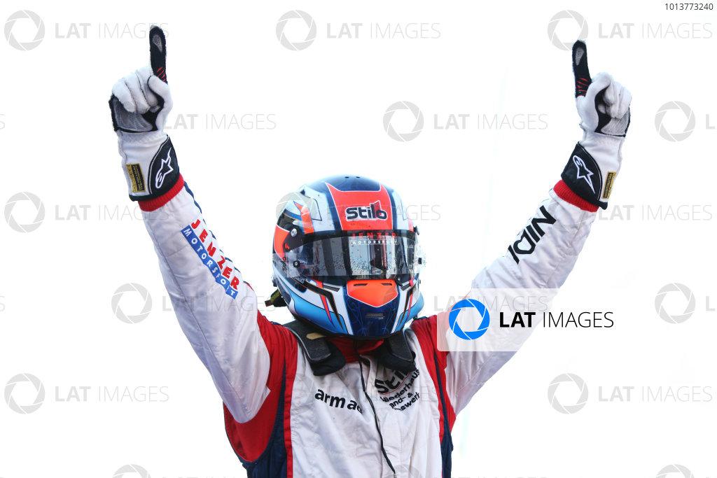 2012 GP3 Series, Round 3.Valencia, Spain. 24th June 2012. Sunday Race 2. Patric Niederhauser (SUI, Jenzer Motorsport) celebrates in parc ferme. Portrait. World Copyright:  Daniel Kalisz/LAT Photographic Ref: Digital Image IMG_2073