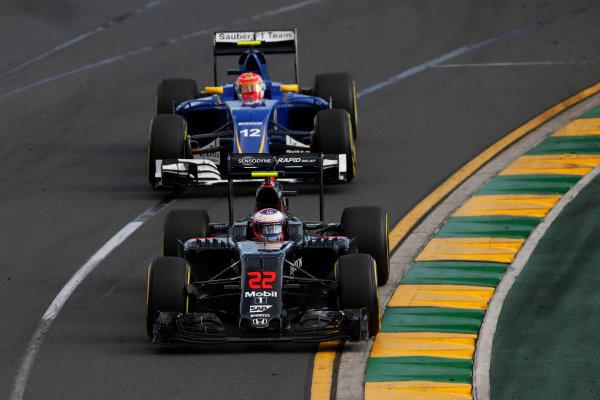 Albert Park, Melbourne, Australia. Sunday 20 March 2016. Jenson Button, McLaren MP4-31 Honda, leads Felipe Nasr, Sauber C35 Ferrari. World Copyright: Charles Coates/LAT Photographic ref: Digital Image _W7W1159