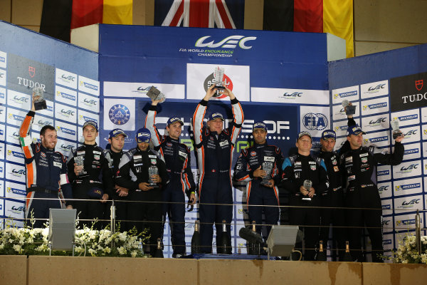 2015 FIA World Endurance Championship, Bahrain International Circuit, Bahrain. 19th - 21st November 2015. GT Am Podium (l-r) Marco Mapelli / Khaled Al Qubaisi / Klaus Bachler Abu Dhabi Proton Racing Porsche 911 RSR, Paul Dalla Lana / Pedro Lamy / Mathias Lauda Aston Martin Racing Aston Martin Vantage V8, Christian Ried / Patrick Long / Marco Seefried Dempsey Racing Proton Porsche 911 RSR. World Copyright: Jakob Ebrey / LAT Photographic.