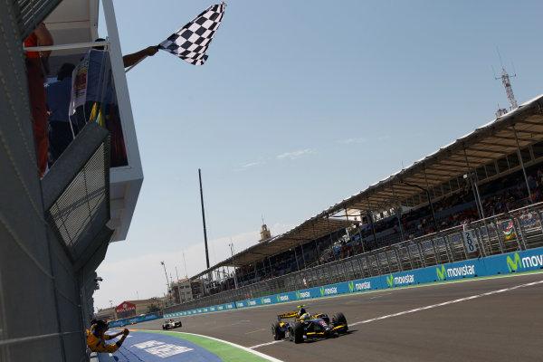 Valencia Spain. 27th June. Sunday Race. Marcus Ericsson (SWE, Super Nova Racing) crosses the line to take victory. Action. Portrait. Photo: Andrew Ferraro/GP2 Media Service. Ref: _O9T4576 jpg