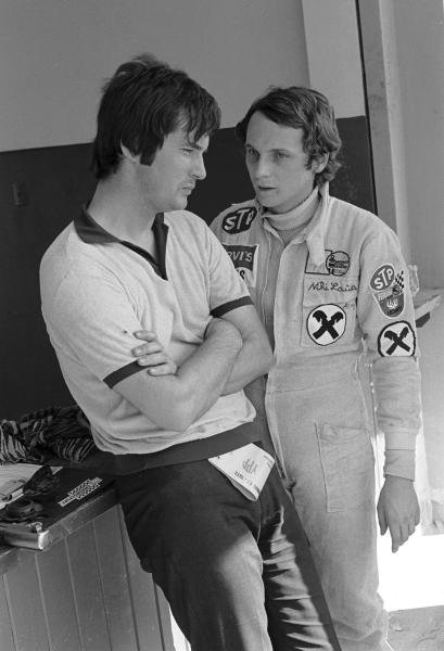 March designer Robin Herd(GBR) left,  and Niki Lauda(AUT) Argentine GP, Buenos Aires, January 23 1972